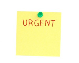 image of urgency sticky note
